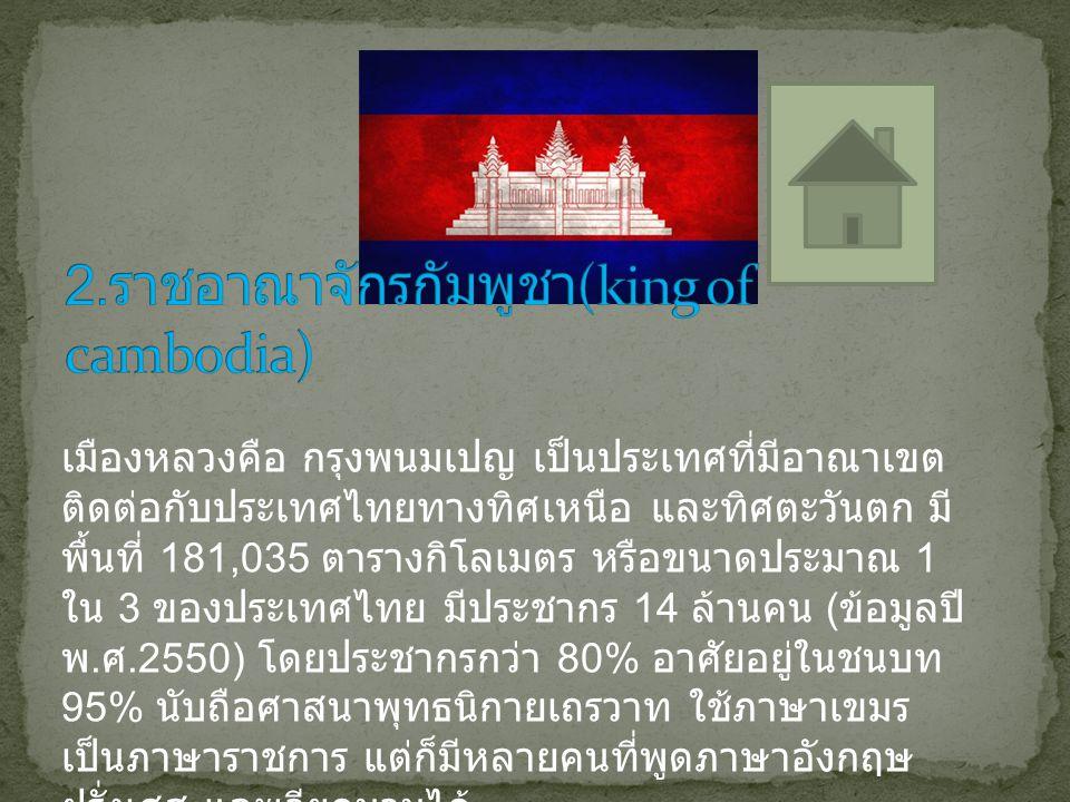 เมืองหลวงคือ กรุงพนมเปญ เป็นประเทศที่มีอาณาเขต ติดต่อกับประเทศไทยทางทิศเหนือ และทิศตะวันตก มี พื้นที่ 181,035 ตารางกิโลเมตร หรือขนาดประมาณ 1 ใน 3 ของป