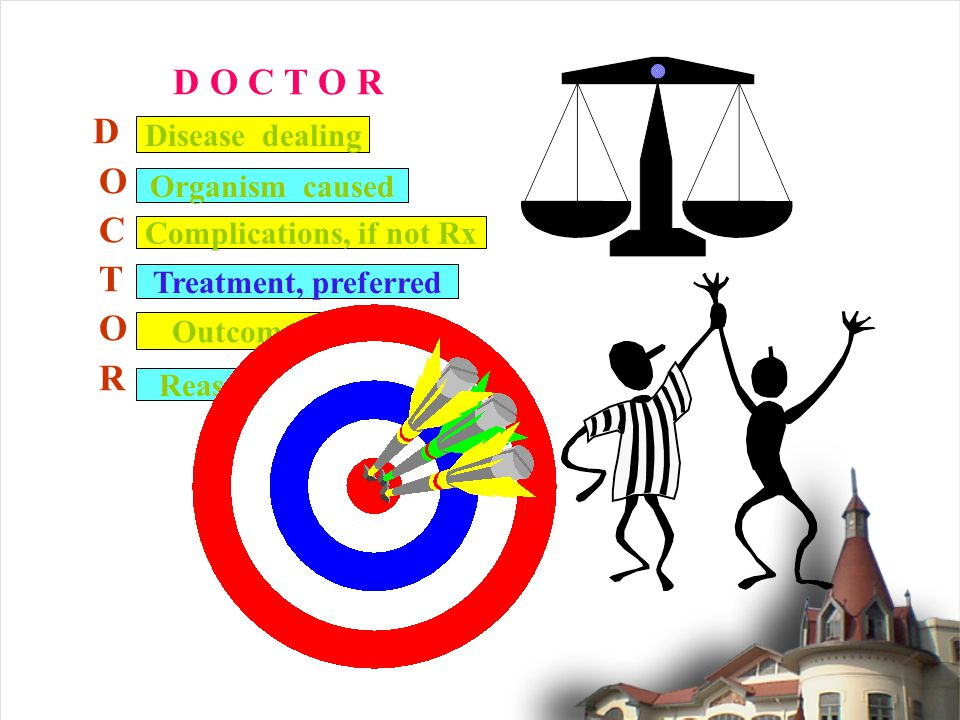 D O C T O R D O C T O R Disease dealing Complications, if not Rx Outcome Organism caused Treatment, preferred Reasonable cost