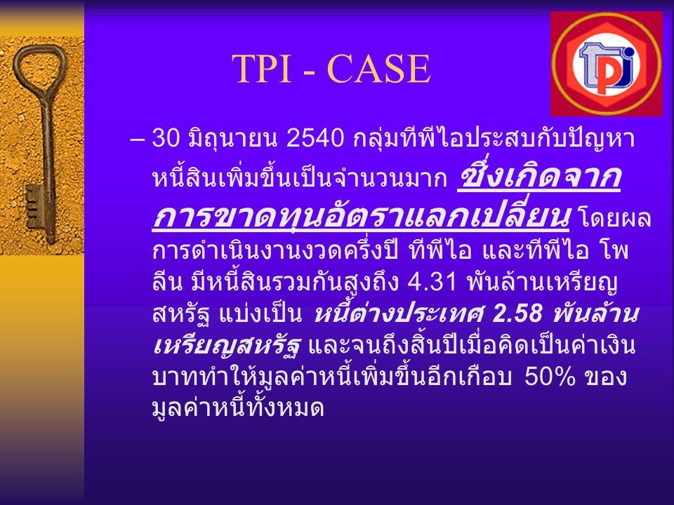 TPI - CASE –30 มิถุนายน 2540 กลุ่มทีพีไอประสบกับปัญหา หนี้สินเพิ่มขึ้นเป็นจำนวนมาก ซึ่งเกิดจาก การขาดทุนอัตราแลกเปลี่ยน โดยผล การดำเนินงานงวดครึ่งปี ท