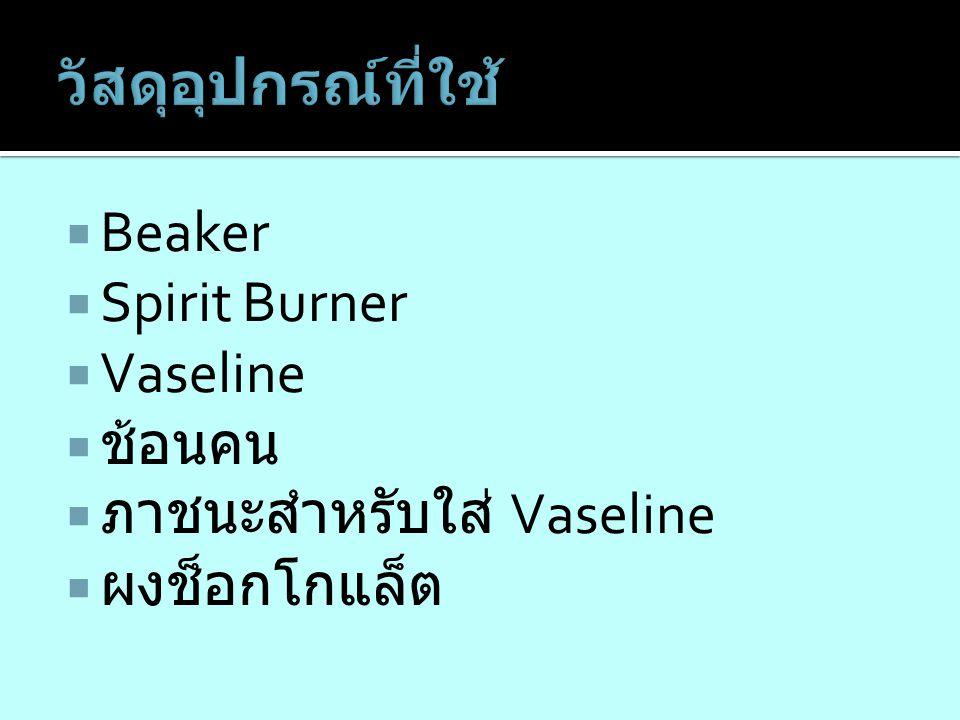  Beaker  Spirit Burner  Vaseline  ช้อนคน  ภาชนะสำหรับใส่ Vaseline  ผงช็อกโกแล็ต