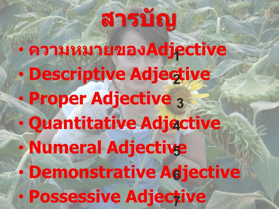 สารบัญ • ความหมายของ Adjective •Descriptive Adjective •Proper Adjective •Quantitative Adjective •Numeral Adjective •Demonstrative Adjective •Possessiv