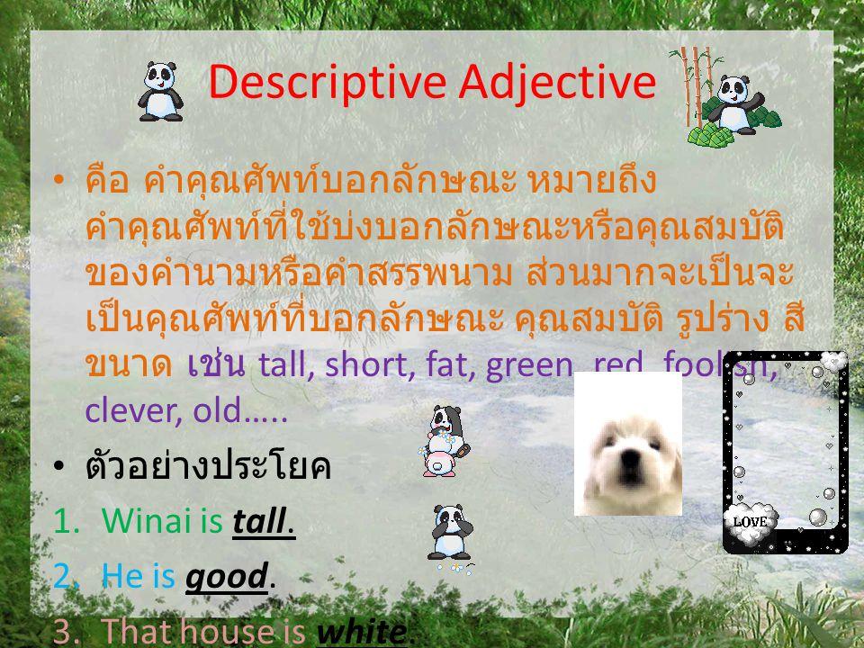 Descriptive Adjective •ค•คือ คำคุณศัพท์บอกลักษณะ หมายถึง คำคุณศัพท์ที่ใช้บ่งบอกลักษณะหรือคุณสมบัติ ของคำนามหรือคำสรรพนาม ส่วนมากจะเป็นจะ เป็นคุณศัพท์ท