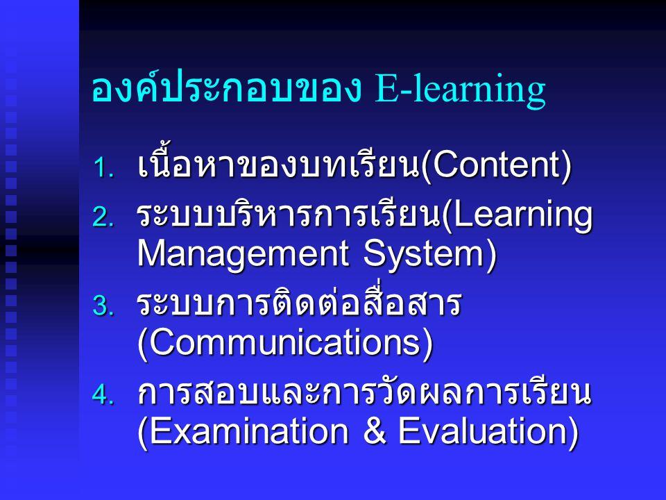 องค์ประกอบของ E-learning  เนื้อหาของบทเรียน (Content)  ระบบบริหารการเรียน (Learning Management System)  ระบบการติดต่อสื่อสาร (Communications) 