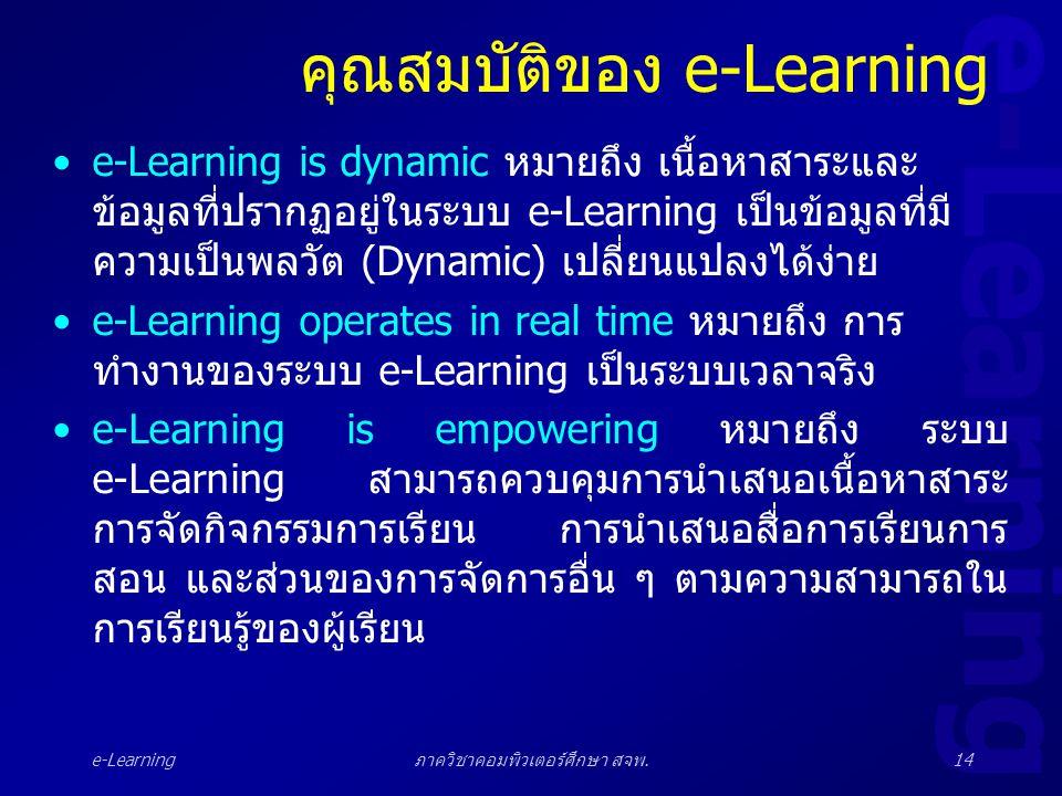 e-Learning ภาควิชาคอมพิวเตอร์ศึกษา สจพ.14 คุณสมบัติของ e-Learning •e-Learning is dynamic หมายถึง เนื้อหาสาระและ ข้อมูลที่ปรากฏอยู่ในระบบ e-Learning เป