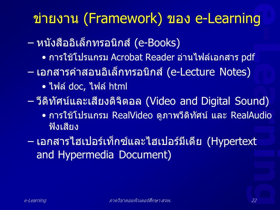 e-Learning ภาควิชาคอมพิวเตอร์ศึกษา สจพ.22 ข่ายงาน (Framework) ของ e-Learning –หนังสืออิเล็กทรอนิกส์ (e-Books) •การใช้โปรแกรม Acrobat Reader อ่านไฟล์เอ