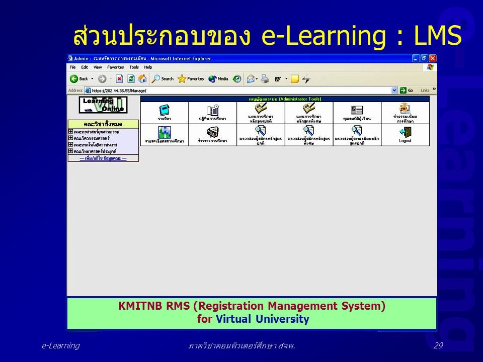 e-Learning ภาควิชาคอมพิวเตอร์ศึกษา สจพ.29 ส่วนประกอบของ e-Learning : LMS KMITNB RMS (Registration Management System) for Virtual University