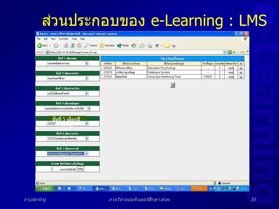 e-Learning ภาควิชาคอมพิวเตอร์ศึกษา สจพ.30 ส่วนประกอบของ e-Learning : LMS ขั้นที่ 5 เลือกปี การศึกษา