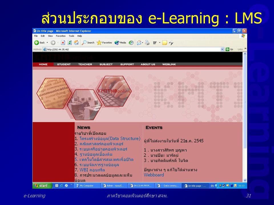 e-Learning ภาควิชาคอมพิวเตอร์ศึกษา สจพ.31 ส่วนประกอบของ e-Learning : LMS
