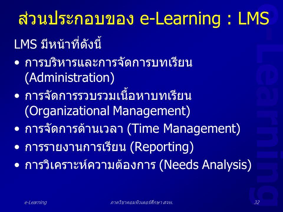 e-Learning ภาควิชาคอมพิวเตอร์ศึกษา สจพ.32 ส่วนประกอบของ e-Learning : LMS LMS มีหน้าที่ดังนี้ •การบริหารและการจัดการบทเรียน (Administration) •การจัดการ