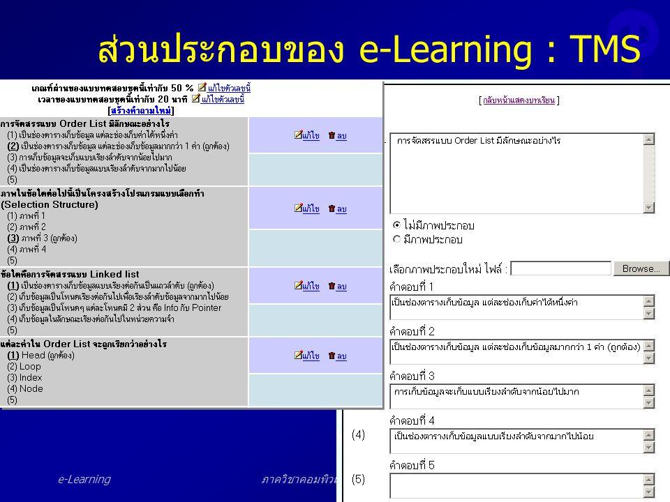 ภาควิชาคอมพิวเตอร์ศึกษา สจพ.40 ส่วนประกอบของ e-Learning : TMS