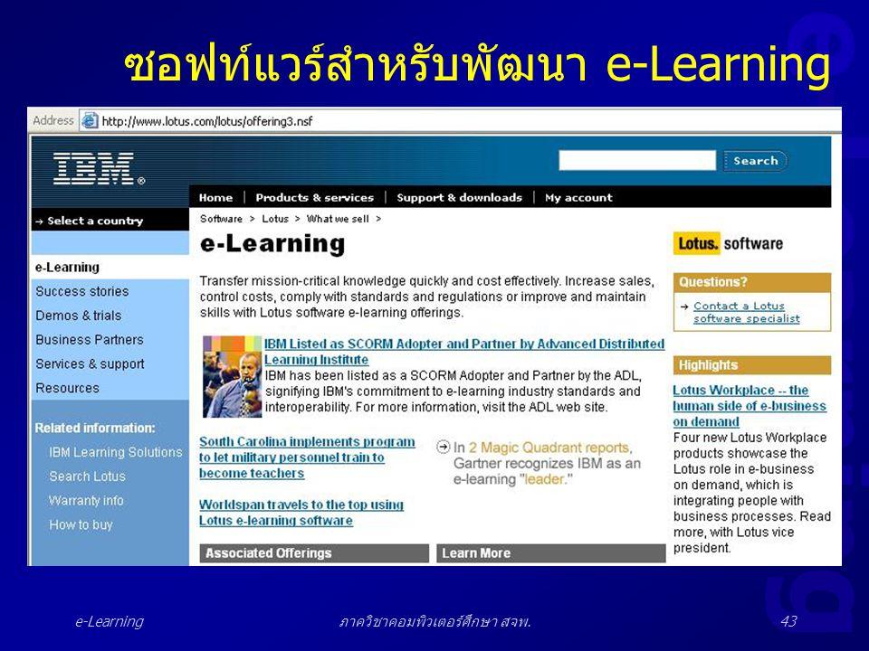 e-Learning ภาควิชาคอมพิวเตอร์ศึกษา สจพ.43 ซอฟท์แวร์สำหรับพัฒนา e-Learning