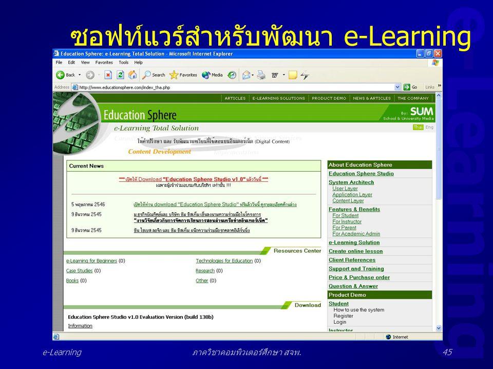 e-Learning ภาควิชาคอมพิวเตอร์ศึกษา สจพ.45 ซอฟท์แวร์สำหรับพัฒนา e-Learning