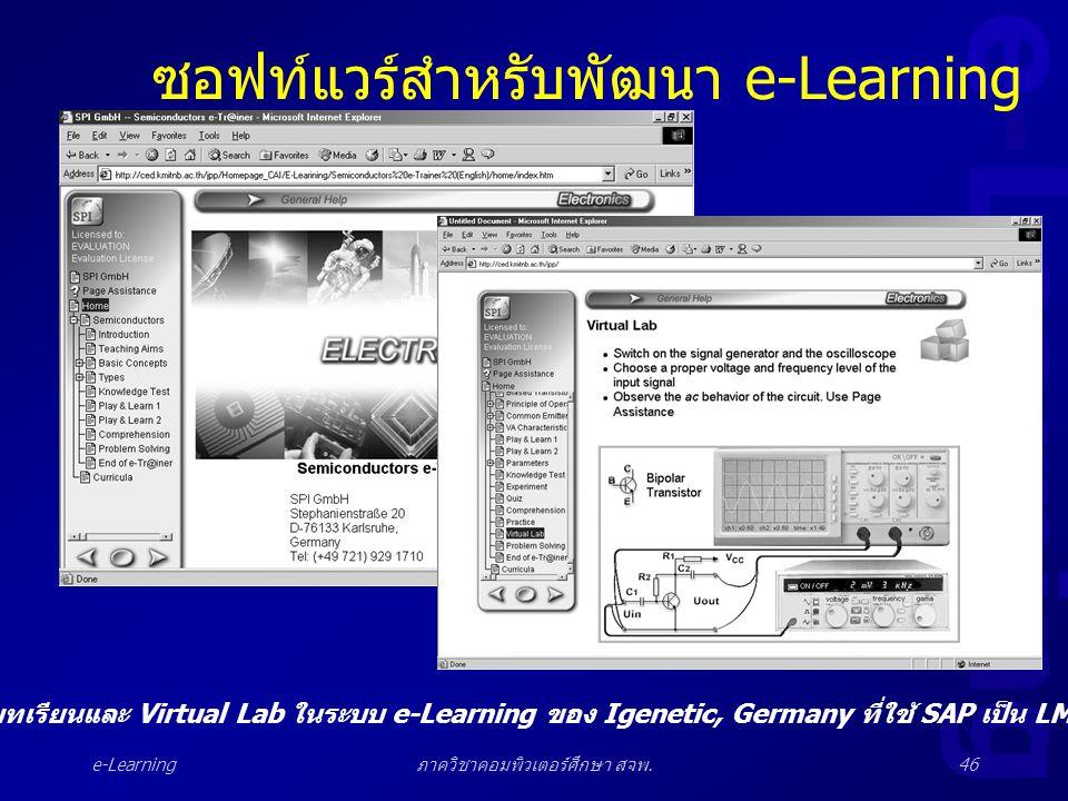 e-Learning ภาควิชาคอมพิวเตอร์ศึกษา สจพ.46 ซอฟท์แวร์สำหรับพัฒนา e-Learning บทเรียนและ Virtual Lab ในระบบ e-Learning ของ Igenetic, Germany ที่ใช้ SAP เป