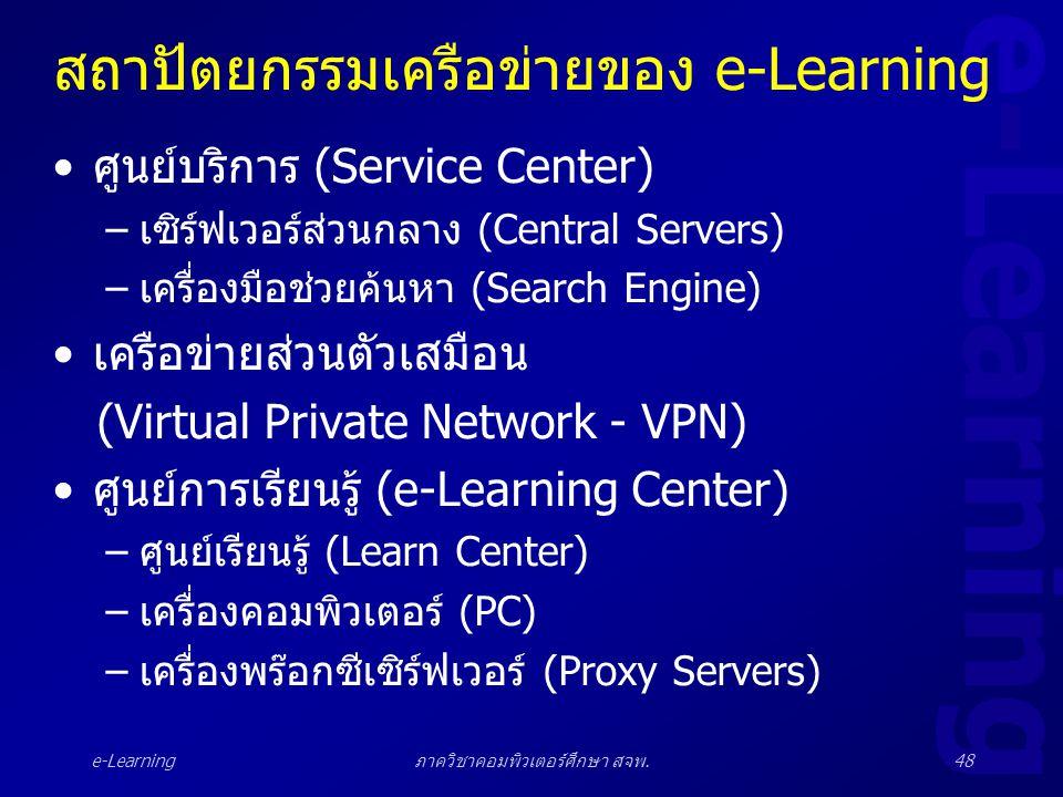 e-Learning ภาควิชาคอมพิวเตอร์ศึกษา สจพ.48 สถาปัตยกรรมเครือข่ายของ e-Learning •ศูนย์บริการ (Service Center) –เซิร์ฟเวอร์ส่วนกลาง (Central Servers) –เคร