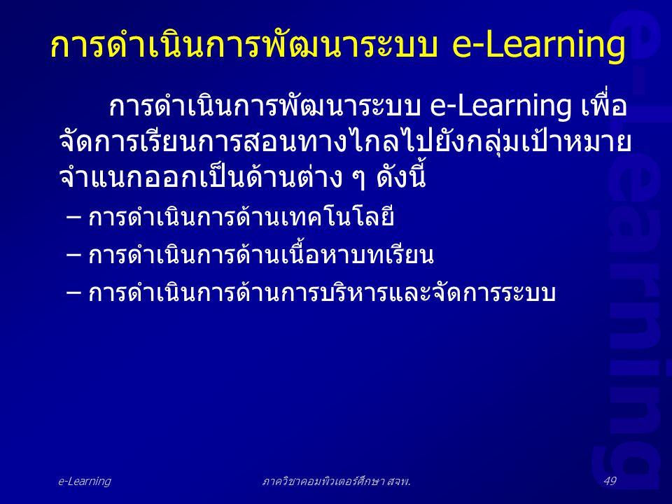 e-Learning ภาควิชาคอมพิวเตอร์ศึกษา สจพ.49 การดำเนินการพัฒนาระบบ e-Learning การดำเนินการพัฒนาระบบ e-Learning เพื่อ จัดการเรียนการสอนทางไกลไปยังกลุ่มเป้
