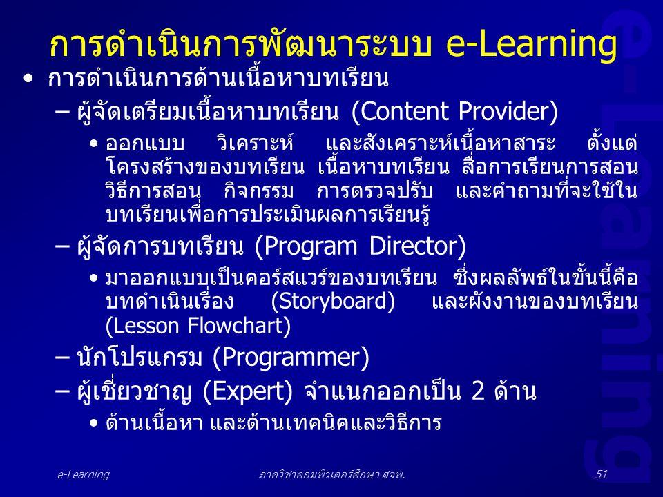 e-Learning ภาควิชาคอมพิวเตอร์ศึกษา สจพ.51 การดำเนินการพัฒนาระบบ e-Learning •การดำเนินการด้านเนื้อหาบทเรียน –ผู้จัดเตรียมเนื้อหาบทเรียน (Content Provid