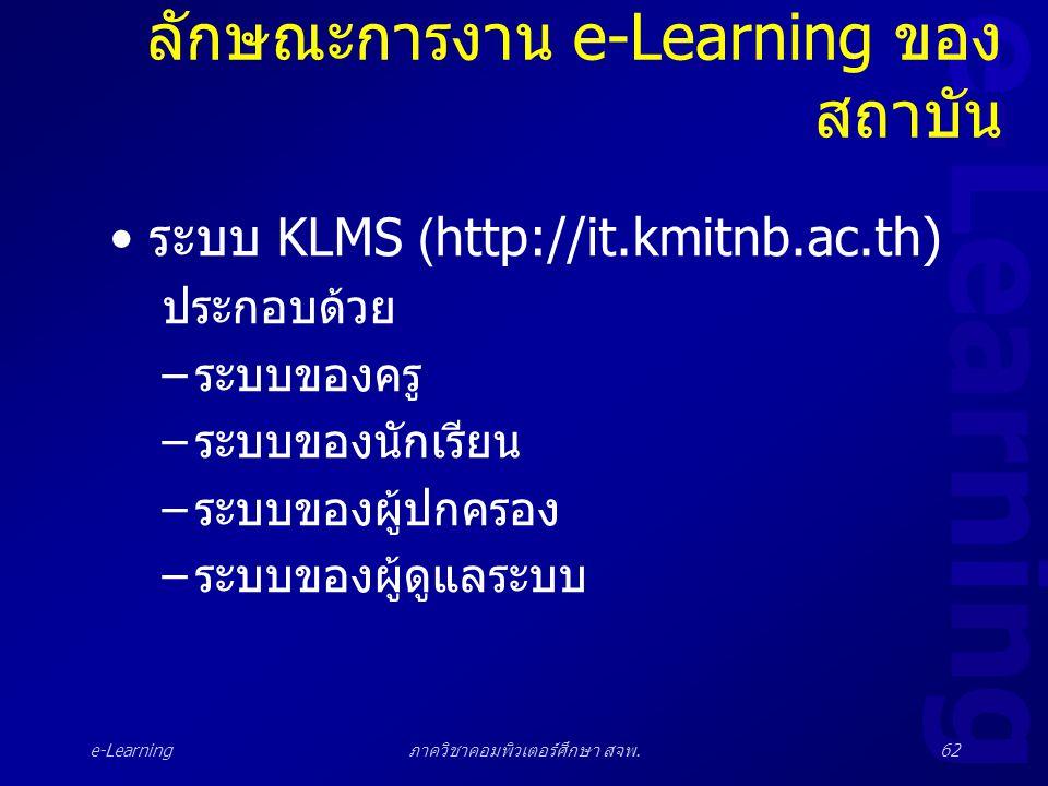 e-Learning ภาควิชาคอมพิวเตอร์ศึกษา สจพ.62 ลักษณะการงาน e-Learning ของ สถาบัน • ระบบ KLMS (http://it.kmitnb.ac.th) ประกอบด้วย – ระบบของครู – ระบบของนัก