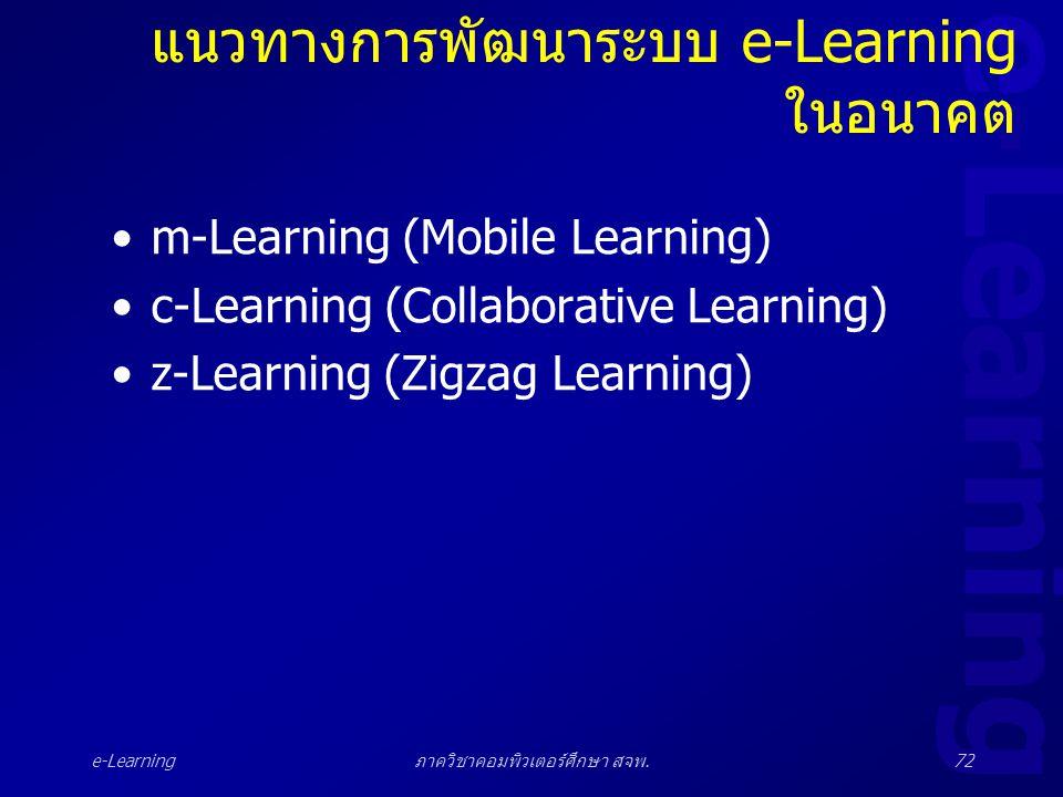 e-Learning ภาควิชาคอมพิวเตอร์ศึกษา สจพ.72 แนวทางการพัฒนาระบบ e-Learning ในอนาคต •m-Learning (Mobile Learning) •c-Learning (Collaborative Learning) •z-