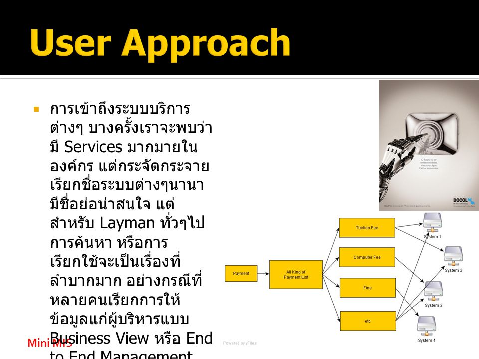 Mini MIS  การเข้าถึงระบบบริการ ต่างๆ บางครั้งเราจะพบว่า มี Services มากมายใน องค์กร แต่กระจัดกระจาย เรียกชื่อระบบต่างๆนานา มีชื่อย่อน่าสนใจ แต่ สำหรับ Layman ทั่วๆไป การค้นหา หรือการ เรียกใช้จะเป็นเรื่องที่ ลำบากมาก อย่างกรณีที่ หลายคนเรียกการให้ ข้อมูลแก่ผู้บริหารแบบ Business View หรือ End to End Management หมายความว่า ผู้ใช้มักจะ ไม่สนใจว่า ระบบ Services ต่างๆ เรียกชื่อ ว่าอะไร และควรจะไปหา ที่ใด รู้แต่ว่าจะทำเรื่องนั้น เรื่องงนี้เป็นหลัก