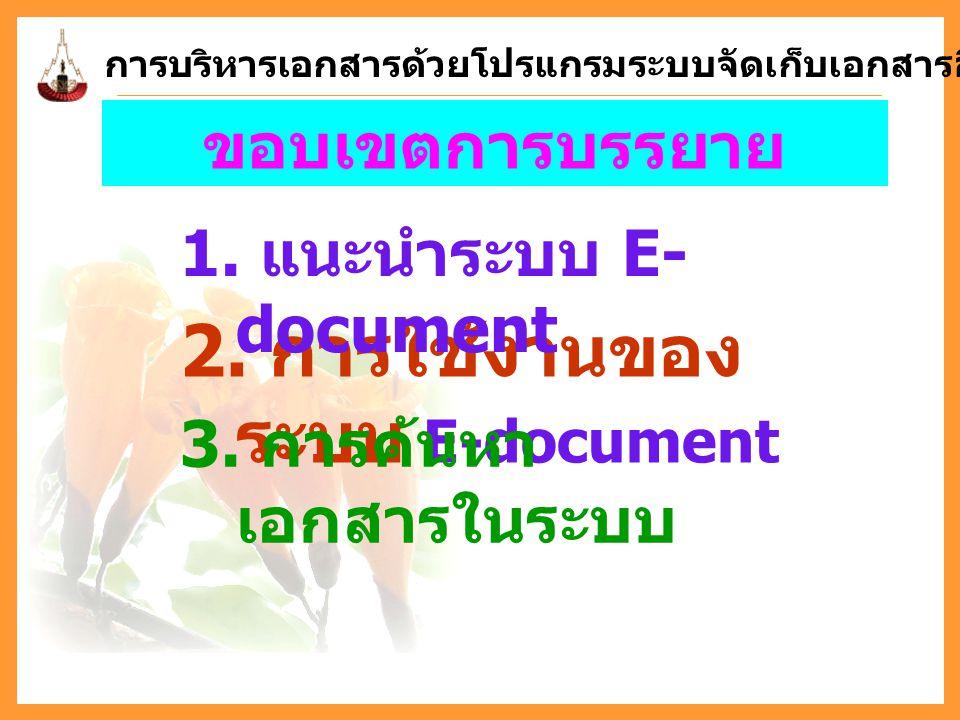 ขอบเขตการบรรยาย 2. การใช้งานของ ระบบ E-document 1. แนะนำระบบ E- document 3. การค้นหา เอกสารในระบบ