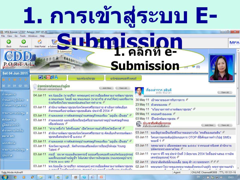 1. การเข้าสู่ระบบ E- Submission 1. คลิกที่ e- Submission