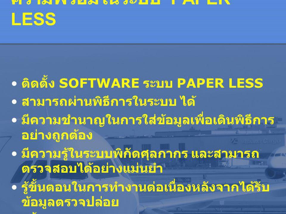 ความพร้อมในระบบ PAPER LESS • ติดตั้ง SOFTWARE ระบบ PAPER LESS • สามารถผ่านพิธีการในระบบ ได้ • มีความชำนาญในการใส่ข้อมูลเพื่อเดินพิธีการ อย่างถูกต้อง • มีความรู้ในระบบพิกัดศุลกากร และสามารถ ตรวจสอบได้อย่างแม่นยำ • รู้ขั้นตอนในการทำงานต่อเนื่องหลังจากได้รับ ข้อมูลตรวจปล่อย • รู้ขั้นตอนในการจัดเก็บเอกสารและตรวจสอบ หลังการตรวจปล่อย