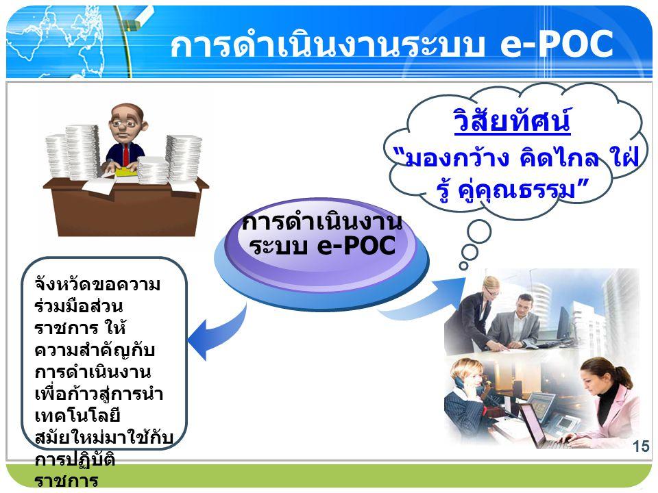 """www.themegallery.com การดำเนินงานระบบ e-POC วิสัยทัศน์ """" มองกว้าง คิดไกล ใฝ่ รู้ คู่คุณธรรม """" 15 จังหวัดขอความ ร่วมมือส่วน ราชการ ให้ ความสำคัญกับ การ"""