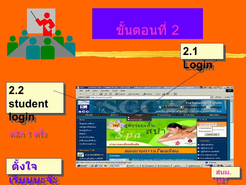 ขั้นตอนที่ 2 ตั้งใจ เรียนนะจ๊ะ 2.1 Login 2.2 student login คลิก 1 ครั้ง 2.2 student login คลิก 1 ครั้ง สนม.
