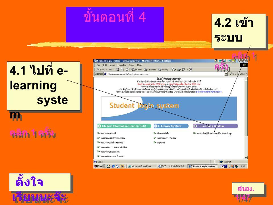  ขั้นตอนที่ 4 4.1 ไปที่ e- learning syste m คลิก 1 ครั้ง 4.1 ไปที่ e- learning syste m คลิก 1 ครั้ง ตั้งใจ เรียนนะจ๊ะ 4.2 เข้า ระบบ คลิก 1 ครั้ง 4.2 เข้า ระบบ คลิก 1 ครั้ง สนม.