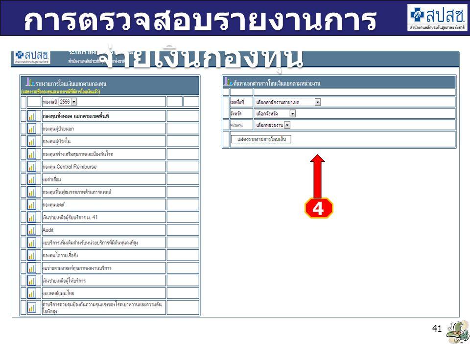 41 การตรวจสอบรายงานการ จ่ายเงินกองทุน 4