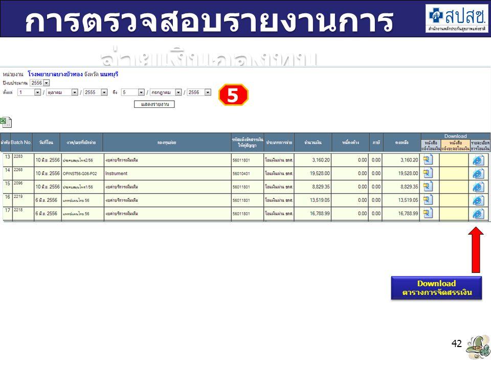 42 การตรวจสอบรายงานการ จ่ายเงินกองทุน Download ตารางการจัดสรรเงิน Download ตารางการจัดสรรเงิน 5