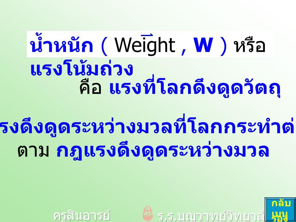 คือ แรงที่โลกดึงดูดวัตถุ น้ำหนัก ( Weight, W ) หรือ แรงโน้มถ่วง เป็น แรงดึงดูดระหว่างมวลที่โลกกระทำต่อวัตถุ ตาม กฎแรงดึงดูดระหว่างมวล กลับ เมนู รอง