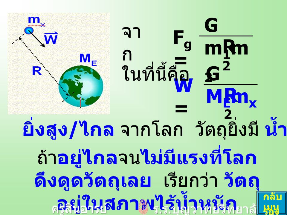 Gm1m2Gm1m2 R2R2 Fg=Fg= จา ก GMEmxGMEmx R2R2 W=W= ในที่นี้คือ ยิ่งสูง / ไกล จากโลก วัตถุยิ่งมี น้ำหนักน้อยลง ถ้าอยู่ไกลจนไม่มีแรงที่โลก ดึงดูดวัตถุเลย