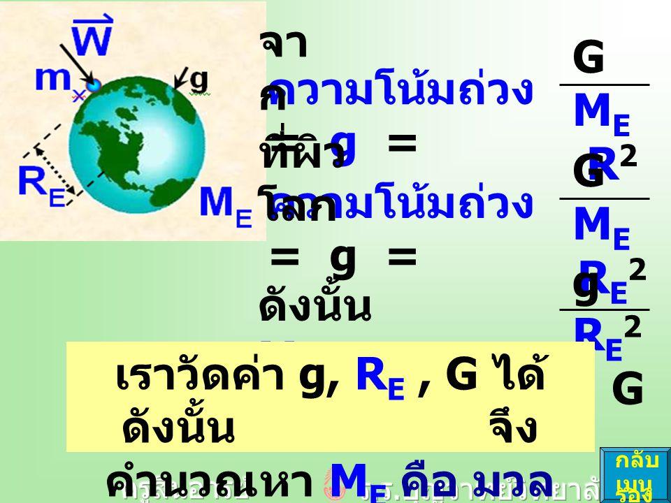 ความโน้มถ่วง = g = GMER2GMER2 GMERE2GMERE2 ดังนั้น M E = g R E 2 G เราวัดค่า g, R E, G ได้ ดังนั้น จึง คำนวณหา M E คือ มวล ของโลก ได้ กลับ เมนู รอง ที