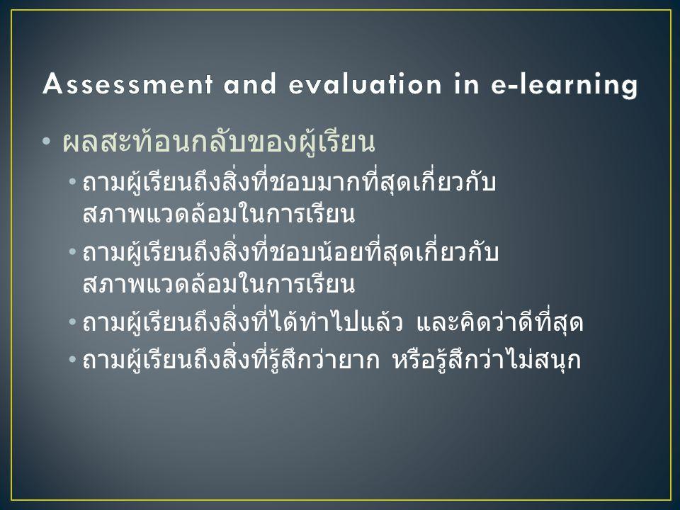 • ตัวอย่างคำถามในการประเมินของอีเลิรน์นิ่ง • รู้สึกอย่างไรกับสภาพแวดล้อมในการเรียน • การมีส่วนร่วม : นักเรียนมีการถามกันเองหรือไม่ • ความอิสระ : นักเรียนมีอิสระในการออกแบบ โครงงานเองหรือไม่ • การมีความหมาย : นักเรียนรู้สึกถึงประโยชน์ของสิ่ง ที่ได้เรียนที่มีต่อตัวเองหรือไม่ • มีนักเรียนคนไหนคุยกันบ้างในห้องสนทนา นักเรียน คุยกันเรื่องอะไร สิ่งที่นักเรียนคุยกับเกี่ยวกับเนื้อหาที่ เรียนหรือไม่ สิ่งที่นักเรียนคุยกันนำไปสู่ทักษะการคิด อย่างมีวิจารณญาณหรือไม่ มีนักเรียนมากกว่าสามคน เป็นผู้นำกลุ่มหรือไม่