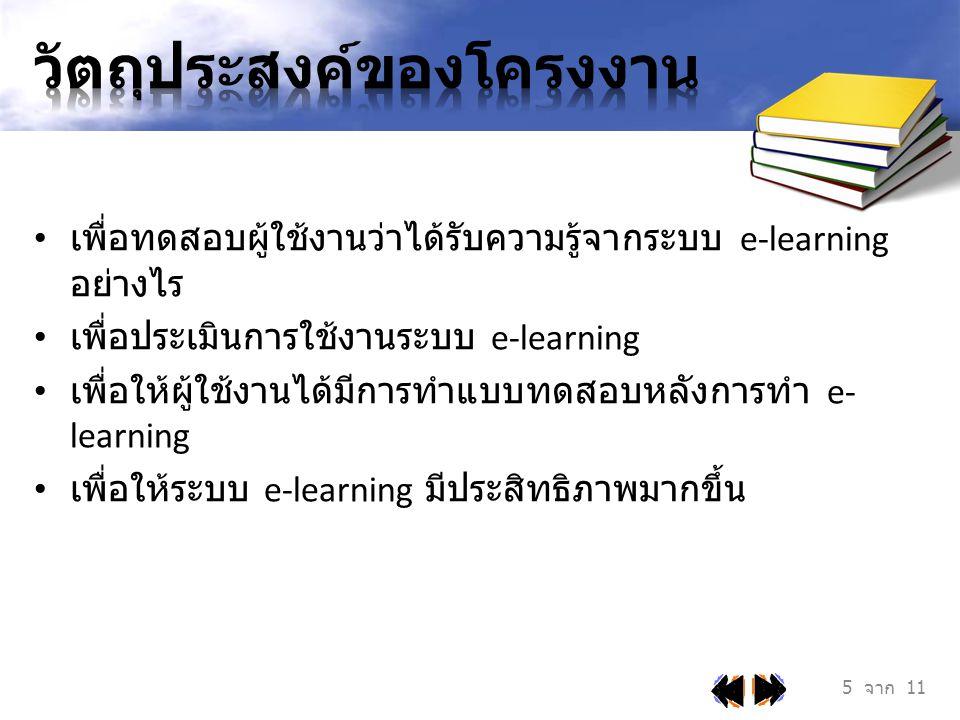 ระบบ Interactive E-learning จะพัฒนาภายใต้ระบบ การเรียนการสอนผ่านทางระบบ e-learning สิ่งที่จะพัฒนาใน ระบบ e-learning คือ • มีการทำแบบทดสอบความรู้ก่อนทำ e-learning • มีการทำแบบทดสอบหลังการทำ e-learning • มีการแสดงความคิดเห็นเกี่ยวกับบทเรียนที่ได้ทำใน e- learning 6 จาก 11