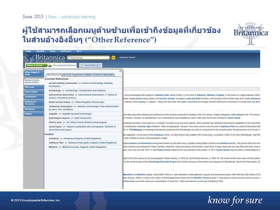 "June 2013 | Peer – enhanced learning ผู้ใช้สามารถเลือกเมนูด้านซ้ายเพื่อเข้าถึงข้อมูลที่เกี่ยวข้อง ในส่วนอ้างอิงอื่นๆ (""Other Reference"") © 2013 Encycl"