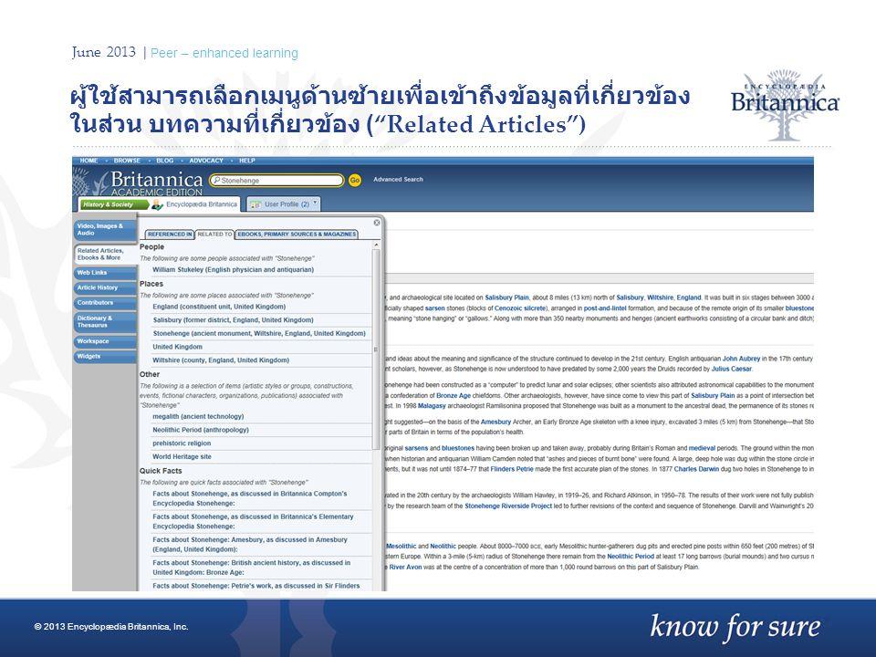 "June 2013 | Peer – enhanced learning ผู้ใช้สามารถเลือกเมนูด้านซ้ายเพื่อเข้าถึงข้อมูลที่เกี่ยวข้อง ในส่วน บทความที่เกี่ยวข้อง (""Related Articles"") © 20"