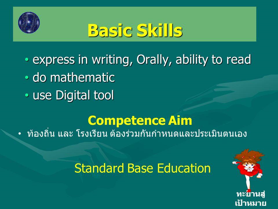 Basic Skills ทะยานสู่ เป้าหมาย • express in writing, Orally, ability to read • do mathematic • use Digital tool Competence Aim • ท้องถิ่น และ โรงเรียน ต้องร่วมกันกำหนดและประเมินตนเอง Standard Base Education