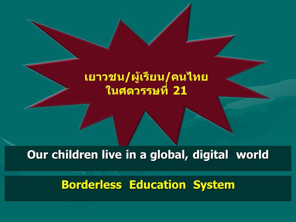 เยาวชน/ผู้เรียน/คนไทย ในศตวรรษที่ 21 Our children live in a global, digital world Borderless Education System