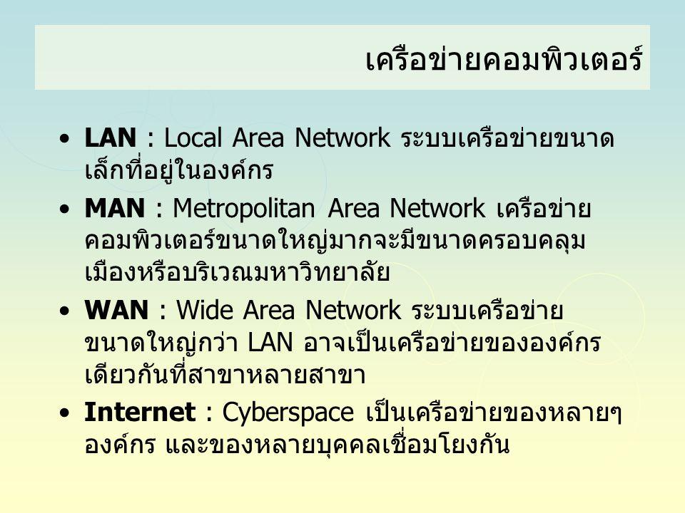เครือข่ายคอมพิวเตอร์ •LAN : Local Area Network ระบบเครือข่ายขนาด เล็กที่อยู่ในองค์กร •MAN : Metropolitan Area Network เครือข่าย คอมพิวเตอร์ขนาดใหญ่มาก