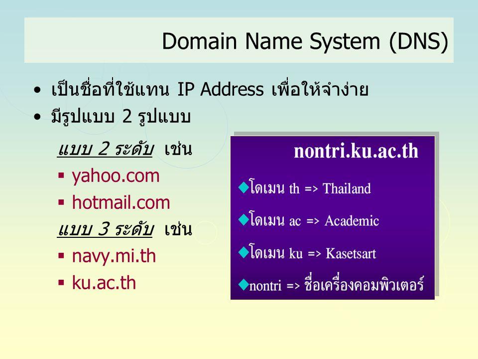 Domain Name System (DNS) •เป็นชื่อที่ใช้แทน IP Address เพื่อให้จำง่าย •มีรูปแบบ 2 รูปแบบ แบบ 2 ระดับ เช่น  yahoo.com  hotmail.com แบบ 3 ระดับ เช่น 