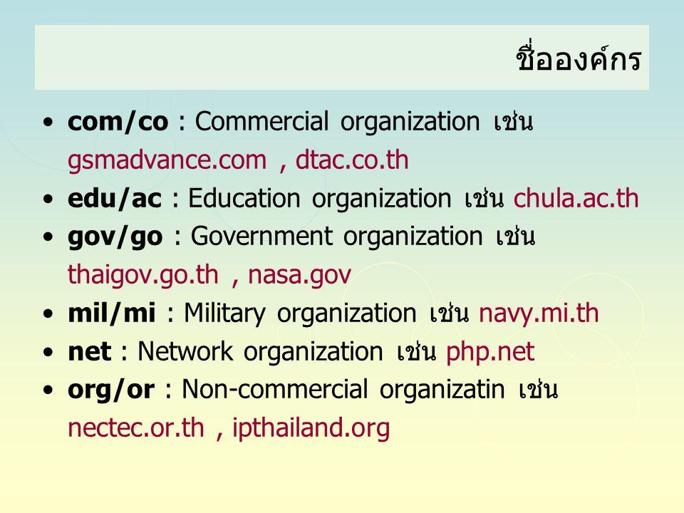•com/co : Commercial organization เช่น gsmadvance.com, dtac.co.th •edu/ac : Education organization เช่น chula.ac.th •gov/go : Government organization