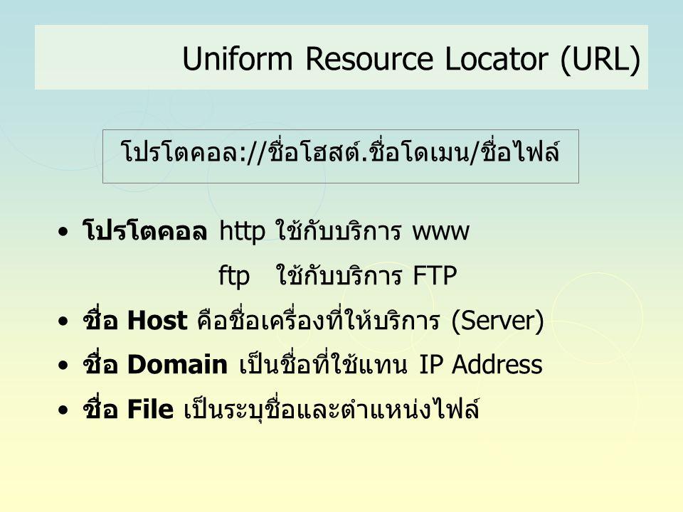 Uniform Resource Locator (URL) •โปรโตคอล http ใช้กับบริการ www ftp ใช้กับบริการ FTP •ชื่อ Host คือชื่อเครื่องที่ให้บริการ (Server) •ชื่อ Domain เป็นชื