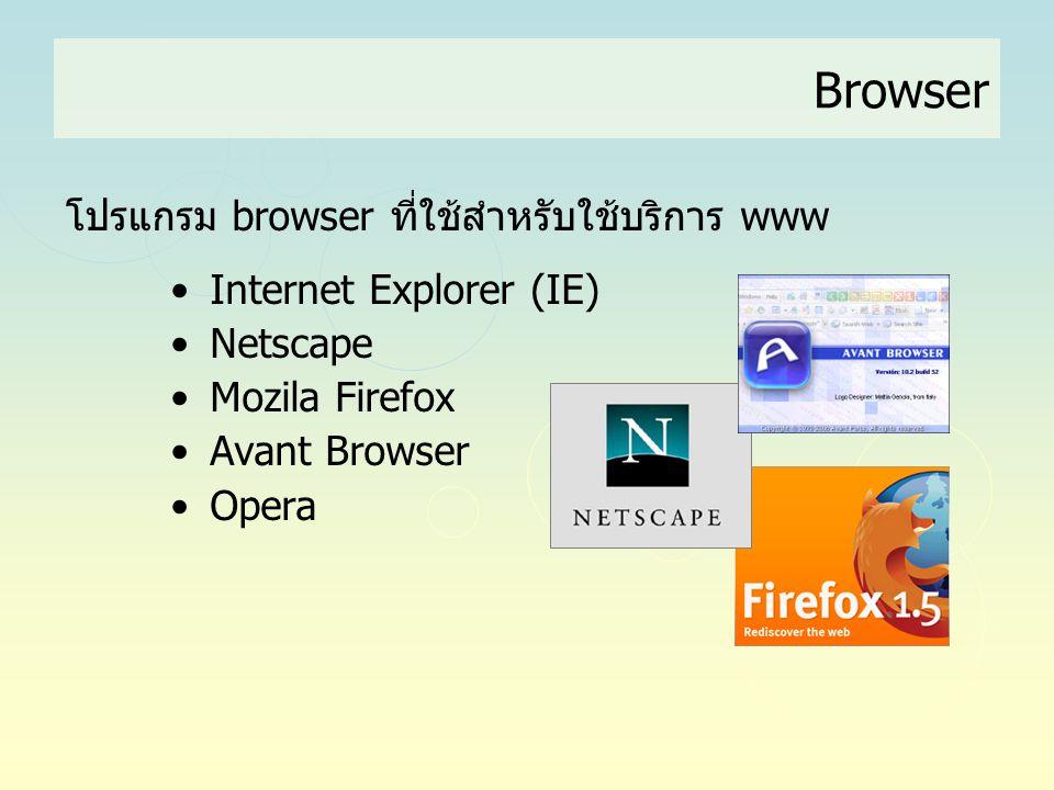 Browser โปรแกรม browser ที่ใช้สำหรับใช้บริการ www • Internet Explorer (IE) • Netscape • Mozila Firefox • Avant Browser • Opera