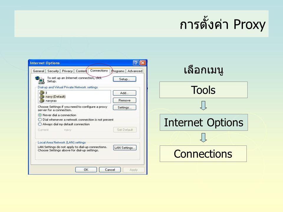 การตั้งค่า Proxy Tools Internet Options Connections เลือกเมนู