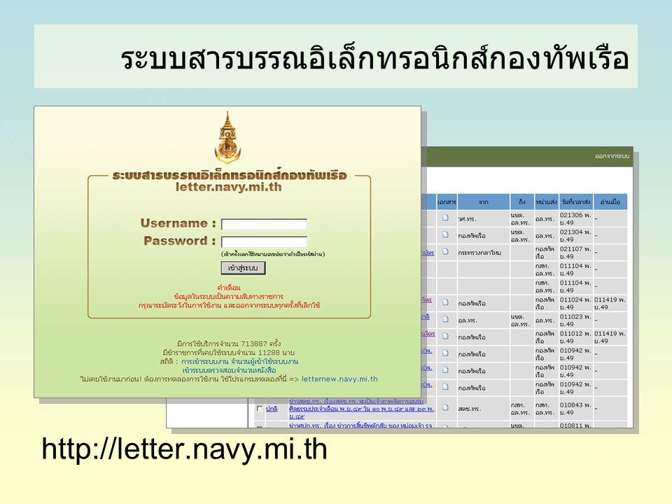 ระบบสารบรรณอิเล็กทรอนิกส์กองทัพเรือ http://letter.navy.mi.th
