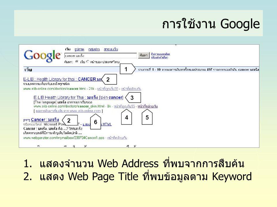 1.แสดงจำนวน Web Address ที่พบจากการสืบค้น 2.แสดง Web Page Title ที่พบข้อมูลตาม Keyword