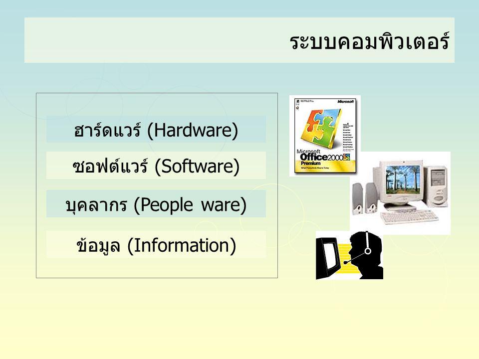 ระบบคอมพิวเตอร์ ฮาร์ดแวร์ (Hardware) ซอฟต์แวร์ (Software) บุคลากร (People ware) ข้อมูล (Information)