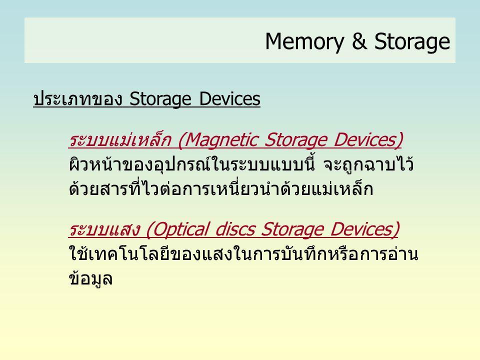 Memory & Storage ประเภทของ Storage Devices ระบบแม่เหล็ก (Magnetic Storage Devices) ผิวหน้าของอุปกรณ์ในระบบแบบนี้ จะถูกฉาบไว้ ด้วยสารที่ไวต่อการเหนี่ยว
